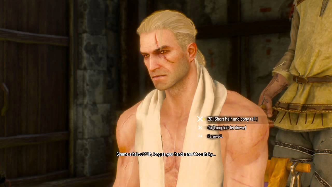 Witcher 3 Hair Styles: The Witcher 3: Wild Hunt: Geralt With His Hair Down.