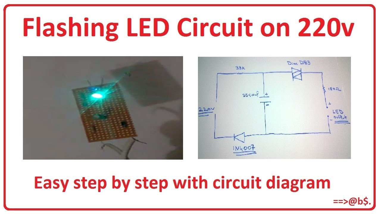 how to make flashing led circuit on 220v 220v blinking led circuit [ 1280 x 720 Pixel ]
