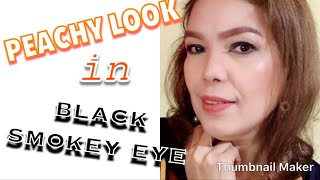 PEACHY LOOK in BLACK SMOKEY EYE -Makeup Tutorial |Zabelle