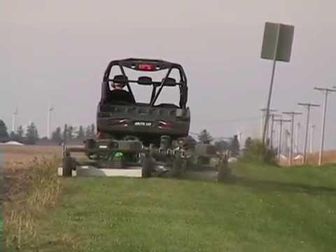 Kunz Acrease Model Pro60v Finish Cut Mowers Pulled In Tandem Behind A 500cc Utv Utility Vehicle