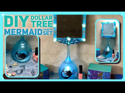 DIY Dollar Tree Mermaid Lighted Vanity Mirror And Tray - Wine Glass DIY - Mermaid Bathroom Decor