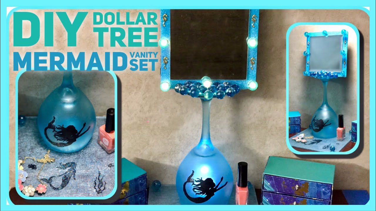 Diy Dollar Tree Mermaid Lighted Vanity Mirror And Tray Wine Gl Bathroom Decor