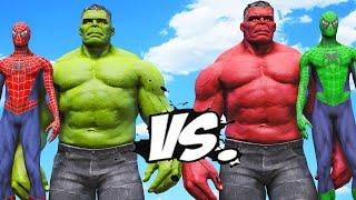 SPIDER-MAN, HULK VS RED HULK, GREEN SPIDERMAN - Epic Superheroes Battle