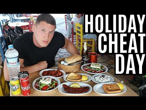 CHEAT DAY ON HOLIDAY  IIFYM Full Day of Eating in Greece