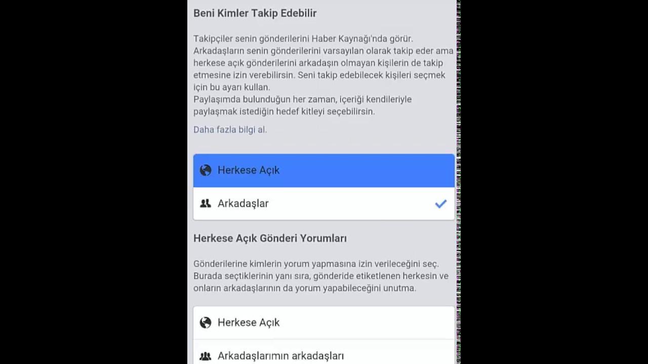 facebook takip etme listesi