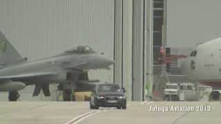 Royal Air Force Typhoons Steep climb on takeoff.