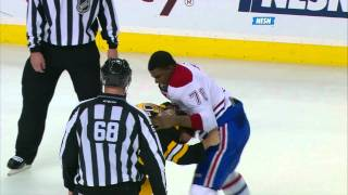 Repeat youtube video Brad Marchand fights P.K. Subban w/SlowMo 10/27/11 NESN