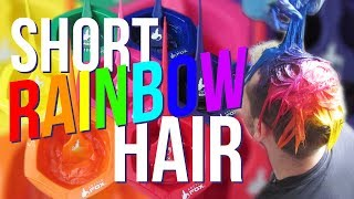 Short Rainbow Hair dye tutorial using Arcticfox HairColor