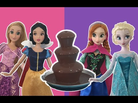 Disney Princess Chocolate Fountain Challenge! +10 Surprise Eggs Disney Dolls Mini Movie NEW!
