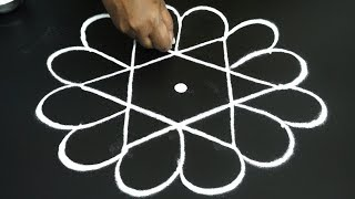 Friday kolam designs | easy rangoli designs | simple easy muggulu with dots