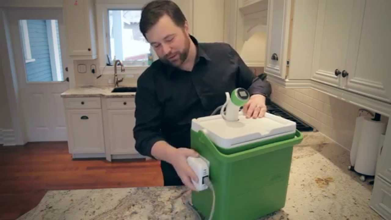 sous vide cooking nomiku cooler hack with a coleman party stacker