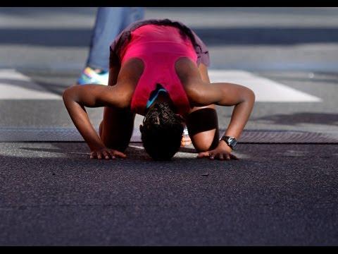Los Angeles marathon: crossing the finish line