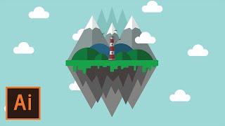 Illustrator Tutorial - Floating Island Landscape (Flat Design)