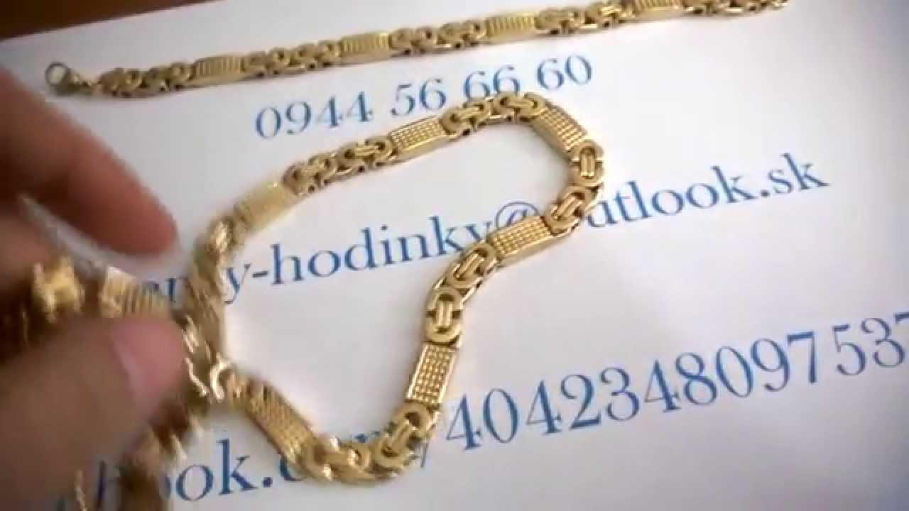 Set náramku a retiazky zo zlatej chirurgickej ocele - YouTube e70e11ece37