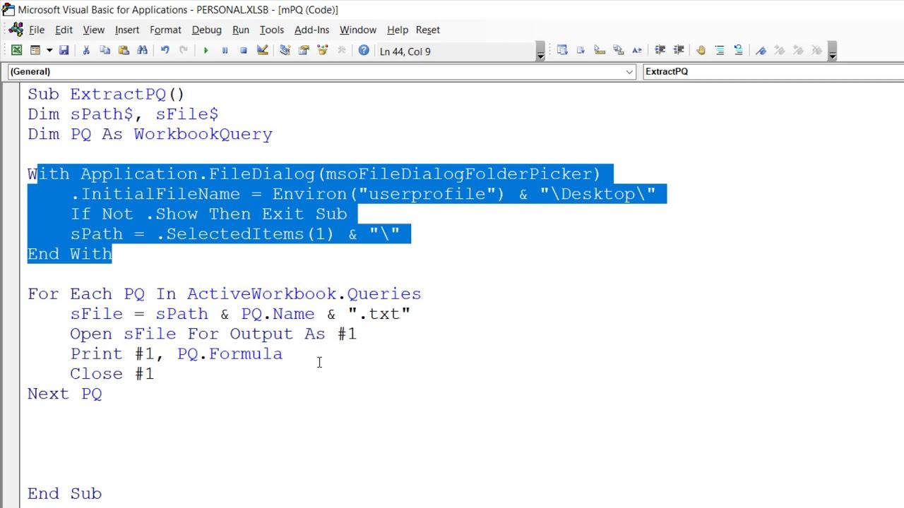 Power Query feat VBA: множественное извлечение кода запросов PQ
