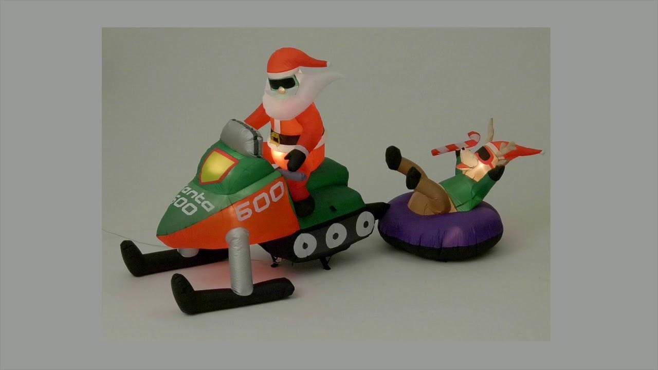 Gemmy christmas inflatable santa on snowmobile youtube
