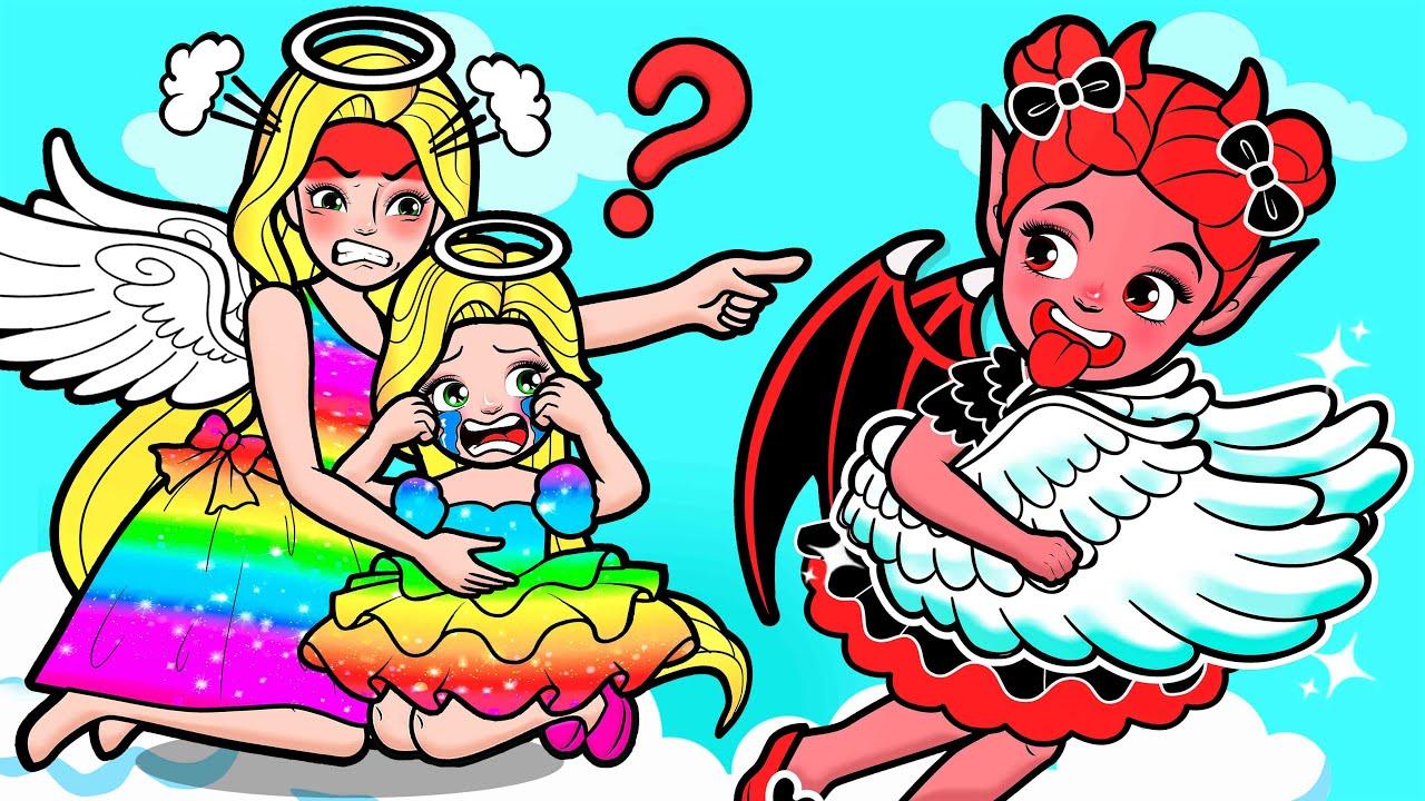 Paper Dolls Dress Up - Rapunzel Lost Angel Wings & Vampire Regret Dress - Barbie Story & Crafts