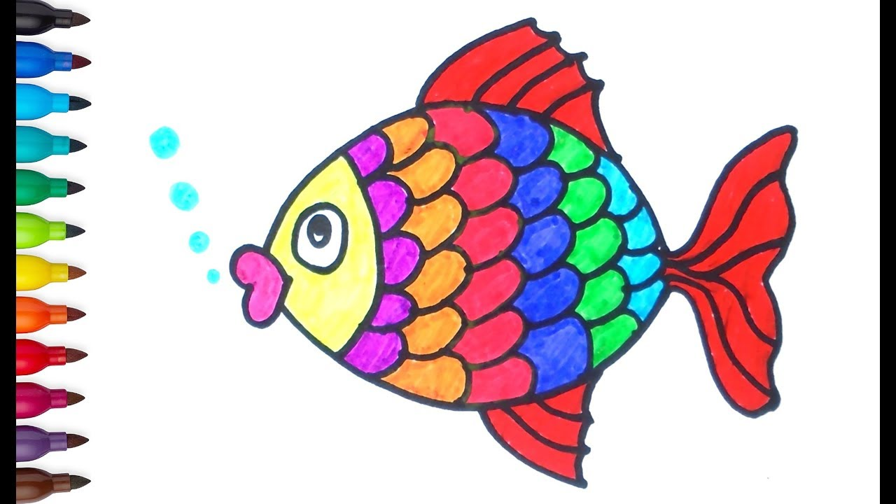 How To Draw Fish Fish Drawing Coloring Pages For Kids Color For Children Youtube