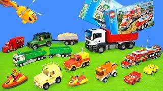 Fireman Sam Engine, Lego Trucks & Train, Bruder Excavator, Duplo Vehicles Unboxing Cars for Kids