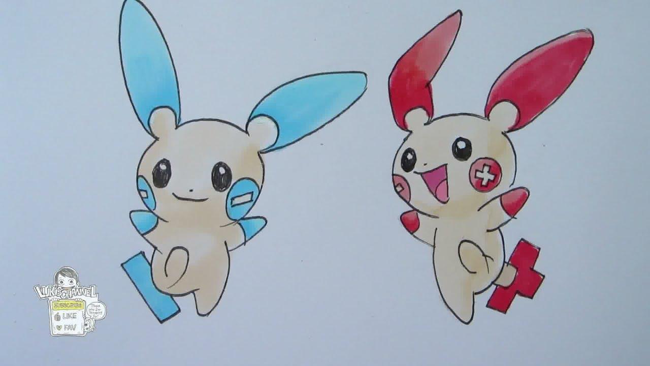 How to draw Pokemon: No. 311 Plusle, No. 312 Minun - YouTube