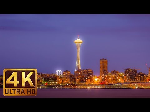 4K Night Cityscape - Relax Video for Sleep & Destress | Views from Alkie Beach - 1 Hour