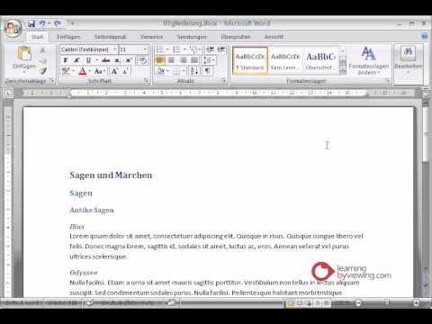 Microsoft Word Tutorial Deutsch Gliederung