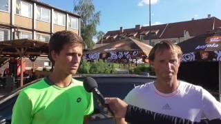 Vít Kopřiva a Jaroslav Pospíšil po výhře v semifinále čtyřhry na turnaji Futures v Pardubicích