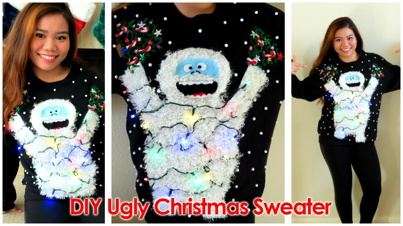 diy ugly christmas sweater 2014 abominable snowmonster youtube - Homemade Ugly Christmas Sweater