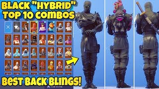 Best BLACK HYBRID Skin & Backbling COMBOS in Fortnite! (TOP 10 BLACK HYBRID COMBINATIONS)