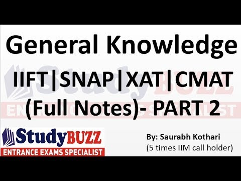 General Knowledge ! Complete notes for IIFT, XAT,CMAT and SNAP- Part 2