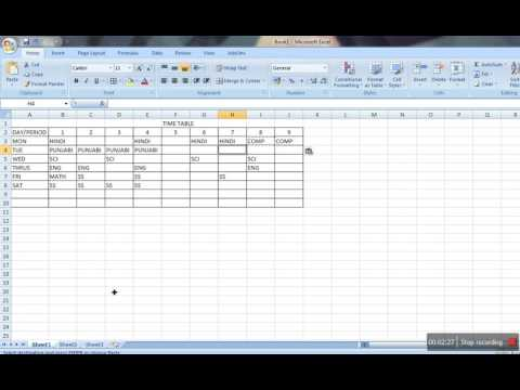 How to make Time Table in MS Excel - YouTube - time table excel