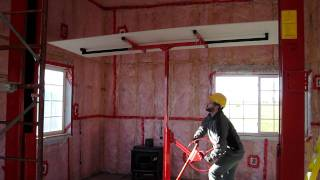 How to raise a sheet of sheetrock to a tall ceiling for installation