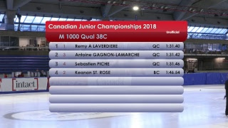 Canadian Junior Championships, December 16, 2018 1000m Qualifiers