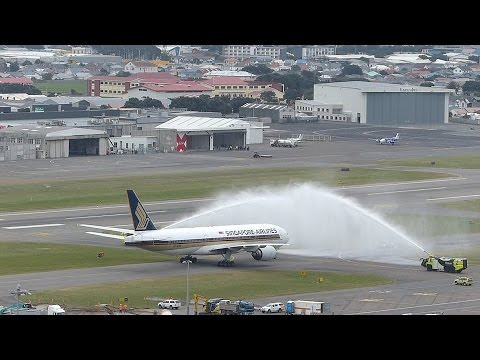 Singapore Airlines SQ291 Inaugural Flight Arrives in Wellington