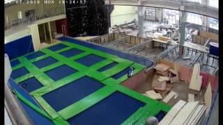 Ярбатут. Монтаж батутной арены и акробатического ковра. Timelaps