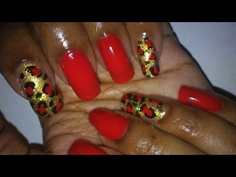 Simple Red Gold Leopard Nail Art Design Youtube