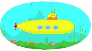 Мультик - Раскраска. Учим Цвета - Катер, Лайнер, Подводная лодка
