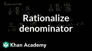 How to rationalize a denominator | Exponent expressions and equations | Algebra I | Khan Academy