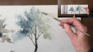 Watercolour demo - Aquarelle   'How to paint trees Part II'