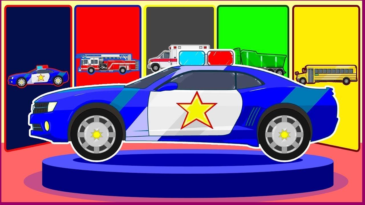 Avec Pompier Les Police Apprendre Couleurs Voiture De Rue Véhicules PTOkuZiX