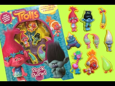 Dreamworks Trolls Stuck on Stories Read Along Story トロールズ ❤ Poppy Branch DJ Suki Toy Figures