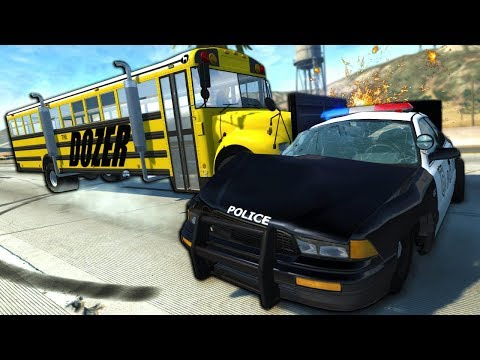 Insane Bulldozer Bus Chases & Crashes In The City! - BeamNG Gameplay & Crashes - Cop Escape