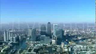 London Aerial Footage - O2 Arena and Canary Wharf