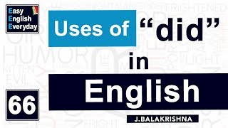 "Spoken English teaching videos | English learning lessons |Uses of ""did"" in English