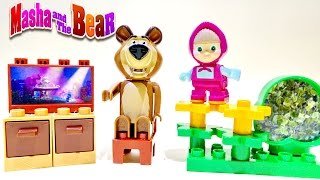 Masha And The Bear PlayBIG Bloxx TV Set And Sunflowers ★ Masha I Medved New 2015 Toys Маша и Медведь