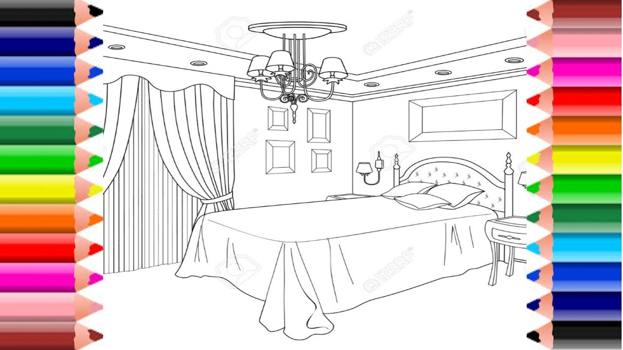 Coloring pages for bedroom - Coloring Pages Bedroom L Princess Bedroom L Princess Bed L Coloring Room For Children