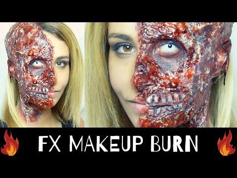 Maquillage tutoriel halloween visage br l effets sp ciaux br lure - Maquillage halloween moitie visage ...