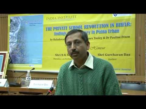 Mr Sandeep Saha on the study of private schools in Patna by India Institute and the EG West Centre.
