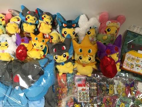 Japan Pokemon Center REVIEW: Poncho Pikachu Mega Plush Toys Keychains & MORE