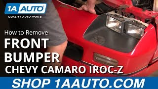 How to Remove Front Nose Bumper Cover Chevy Camaro IROC-Z 1AAuto.com